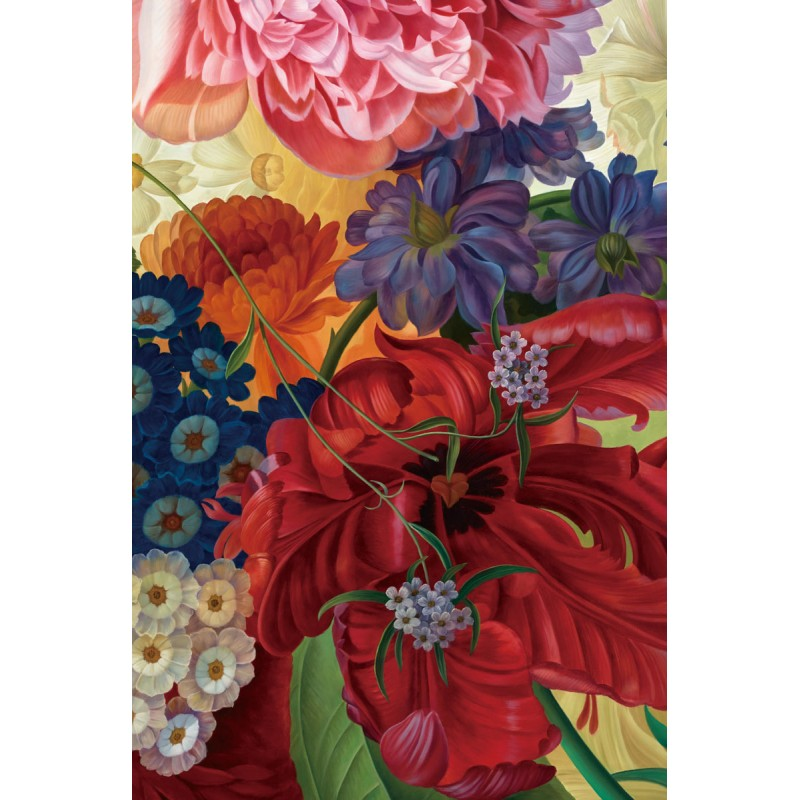 Glass wall art  - Colourful flowers