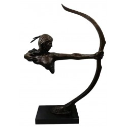Bronze Huron American Indian with Bow