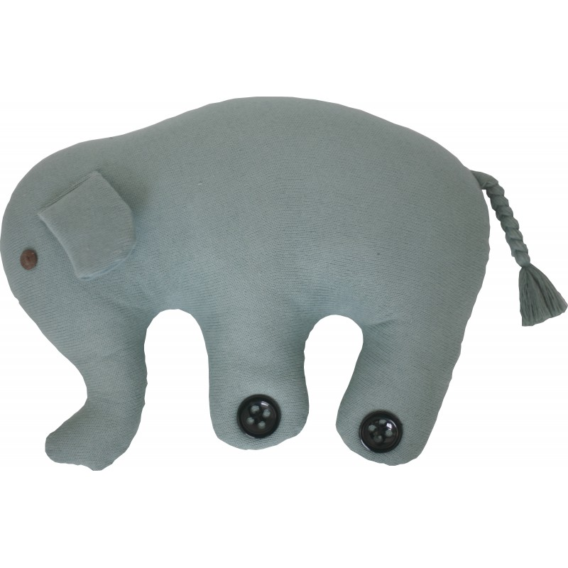 Knitted animal cushion in the form of a blue Elephant