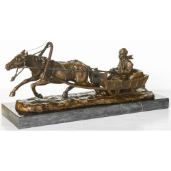 Large Bronze - Man in Sleigh Pulled by Horse
