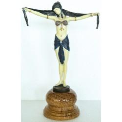 Art Deco Bronze - Scarf Dancer - Hand Painted Finish