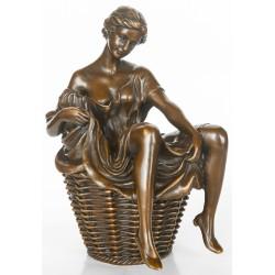 Bronze Sculpture - Lady in Basket Wearing no Underwear