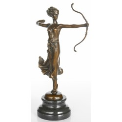 Art Deco Bronze - Diana the Huntress with Bow - 30 cm