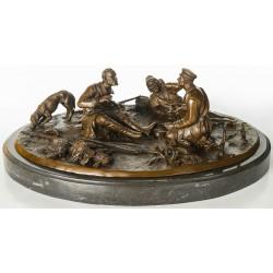 Bronze Sculpture - Group of Russian Hunting Men