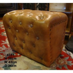 Leather Buttoned Stool -...