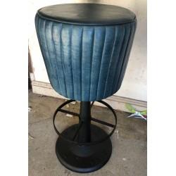 Blue Round Leather Bar Stool