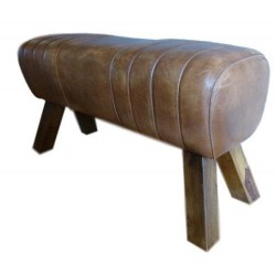 Brown Leather Bench Pommel...
