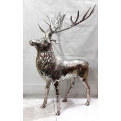 Huge Stag Sculpture - Nickel Plated Aluminium