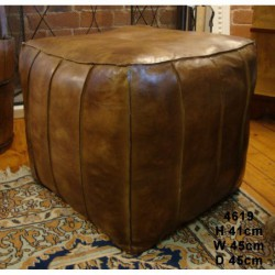 Leather Cubed Pouffe /...
