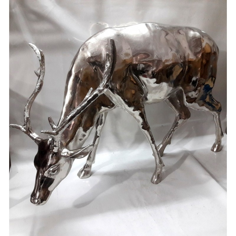 Huge Stag Sculpture - Graing Stag - Silver Nickel plated Aluminium