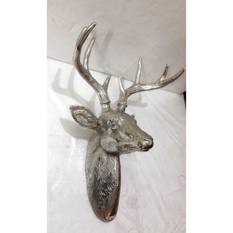 Wall Mounted Stag Head Sculpture - Silver NIckel Plated Aluminium