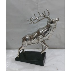 Stag on Rock Sculpture - Silver Nickel Plated Aluminium - Marble Base