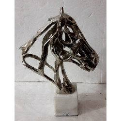 Stylised Horse Head Bust Sculpture - Silver Nickel Plated Aluminium - Marble Base
