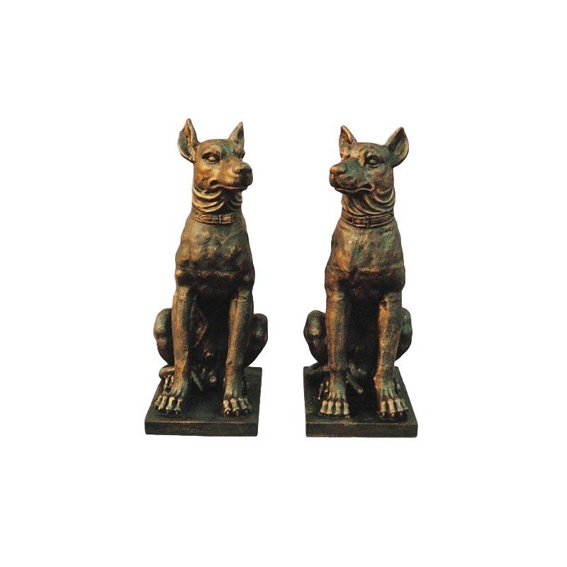 Pair of Dogs - Iron Sculptures - Rusted Effect