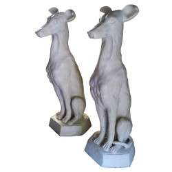 Large Pair of Cast Iron Dogs - White Painted Finish