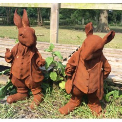 Rabbit and Rat Sculptures - Cast Iron Rusted Effect
