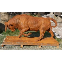 Large Cast Iron Sculpture - Bull With Head Down - Rusted Effect