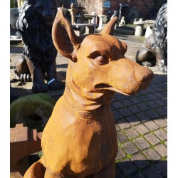 Pair of Dogs - Cast Iron Sculptures - Rusted Effect