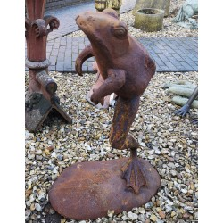 Frog in Mid Leap - Cast Iron Sculpture - Rusted Effect