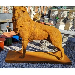 Large Cast Iron Sculpture - Wolf - Rusted Effect