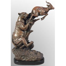 Bronze Sculpture - Lioness Hunting Gazelle / Antelope