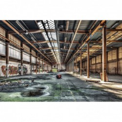 Glass wall art - Industrial Abandoned Warehouse 80 cm x 120 cm