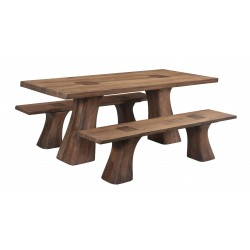 Contemporary Solid Acacia Wood Dining Table Set - Rodin
