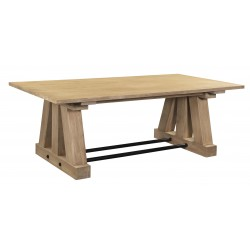 Large Solid Acacia Wood And Iron Dining Table