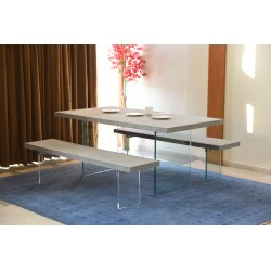 Concrete & Glass Dining Table Set - 220 cm
