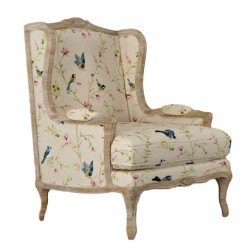 French Style Wing Armchair - Bird & Flower Print Upholstery