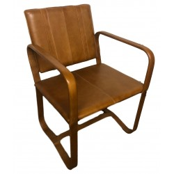 Leather Dining Chair with Arms