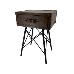 Leather Bedside Table with...