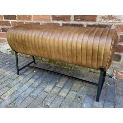 Brown Leather Bench - Metal...