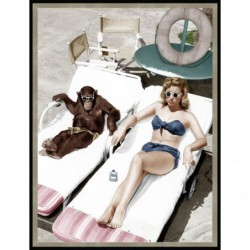 1950s Sunbathing Lady &...