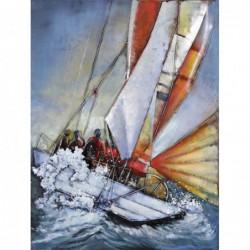 White Sailing Boat 3D Metal...