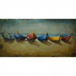 Colourful Boats Metal Wall Art