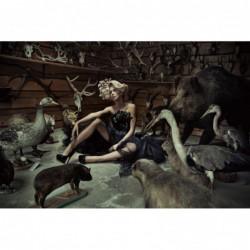 Glass art - sitting woman in Taxidermy Scene - 150 cm x 100 cm