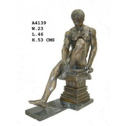 Bronze Seated Naked Male -...