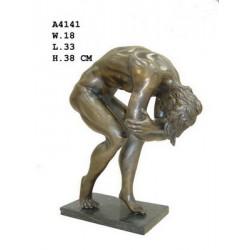 Bronze Crouching Naked Male...