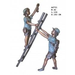 Large Bronze Boy and Girl...
