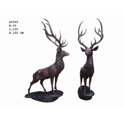 Large Pair of Bronze Stags...