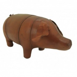 Handmade Leather Pig Footstool