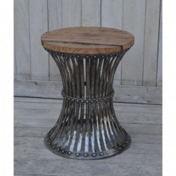 Iron Side Table with Wooden...