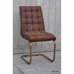 Leather Buttoned Back Chair