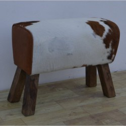 Cowhide Hair on Leather Bench