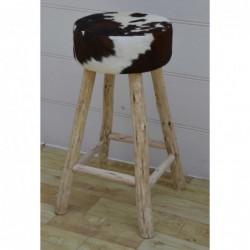 Cowhide & Wood Barstool -...