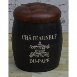 Barrel stool with removable top 'Chateauneuf du Pape'