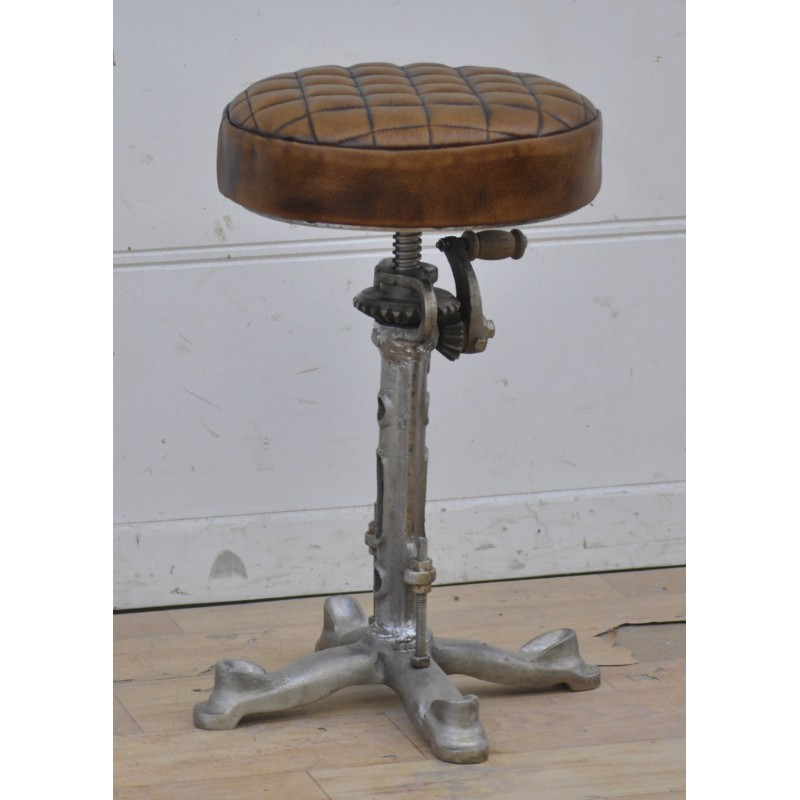 Industrial style Iron stool with Leather seat