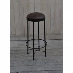 Iron Bar Stool with Leather...