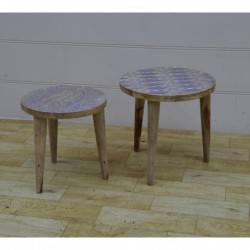 Set of Two Wooden Side Tables